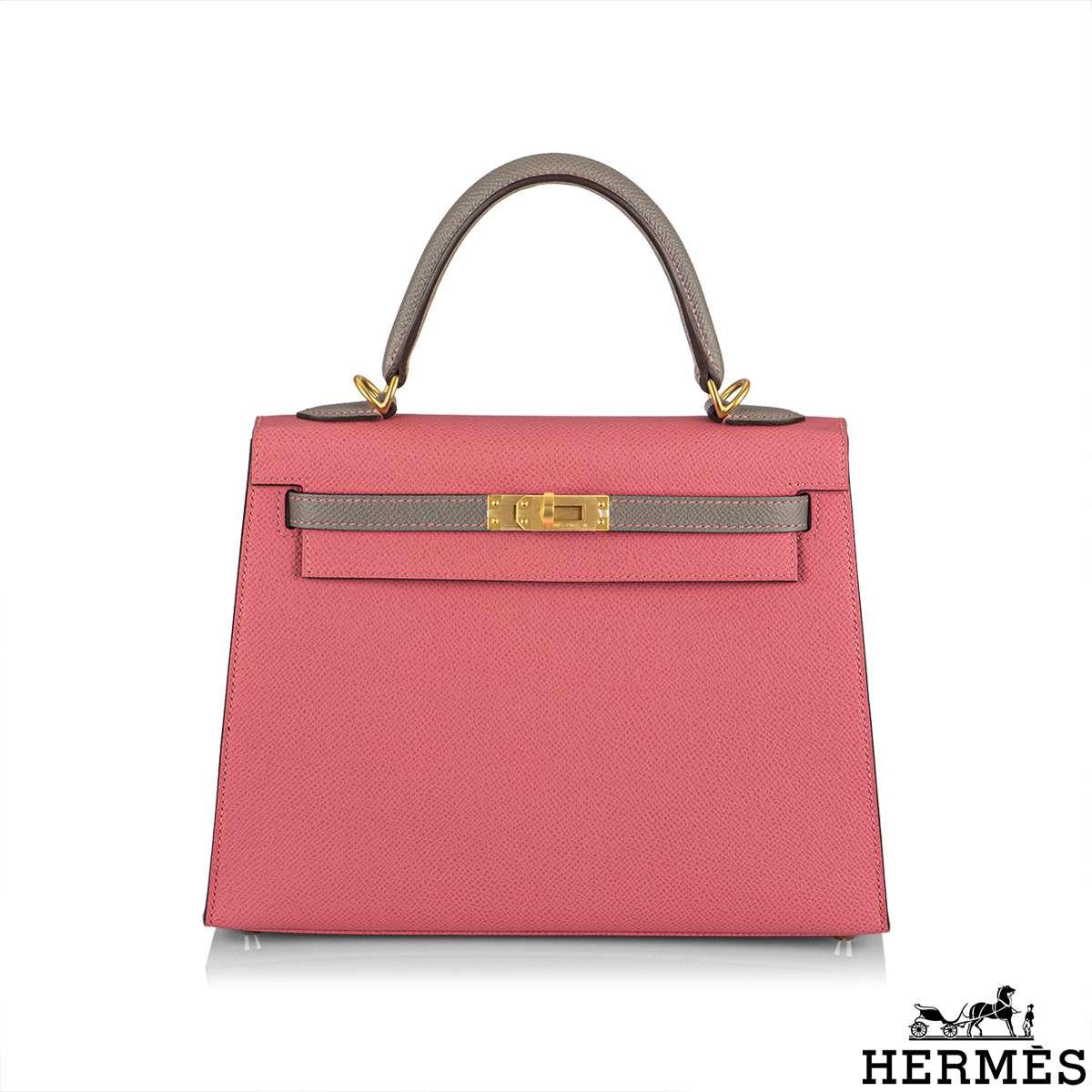 Hermès Horseshoe Stamp HSS Rose Azalea Gris Asphalt Sellier Kelly 25 BGHW